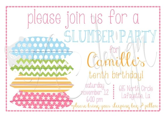 slumber party invitation printable free