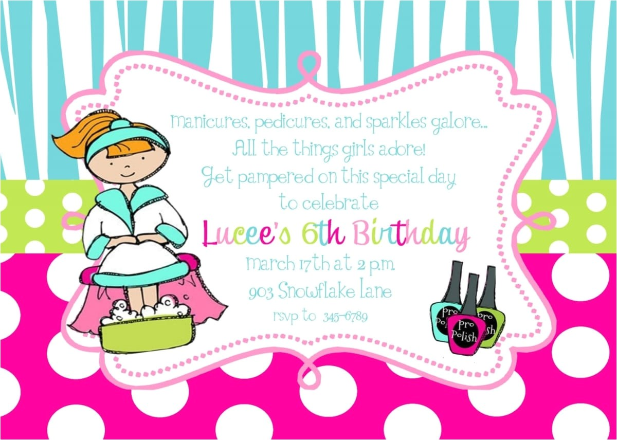 free printable spa birthday party invitation