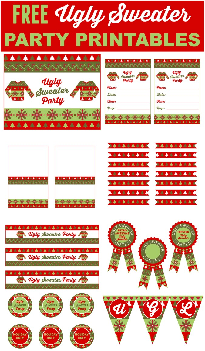 free ugly sweater party printables