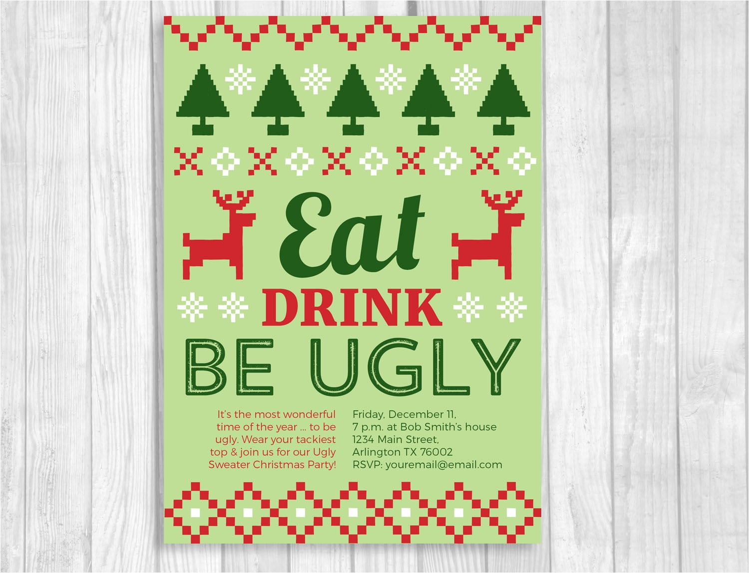 ugly christmas sweater party printable