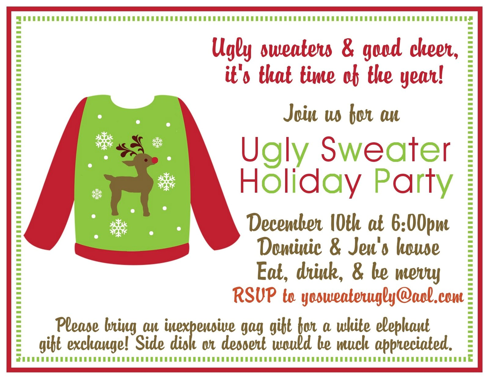 collectionudwn ugly sweater party invitation template free