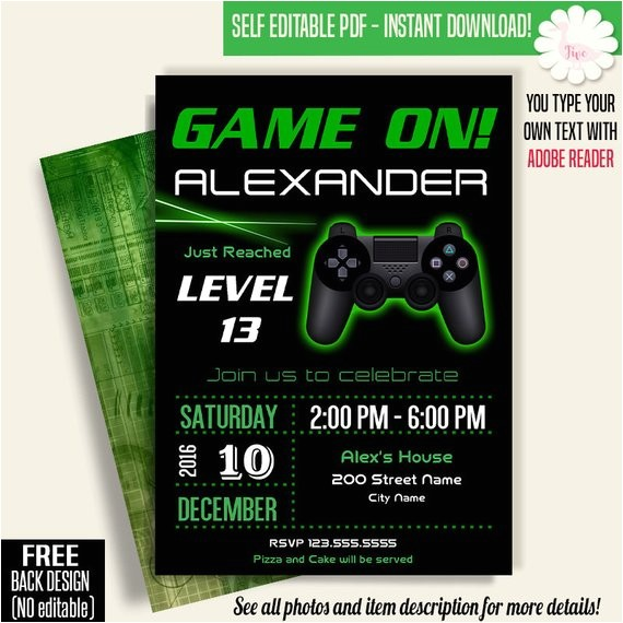game on invitation video game party