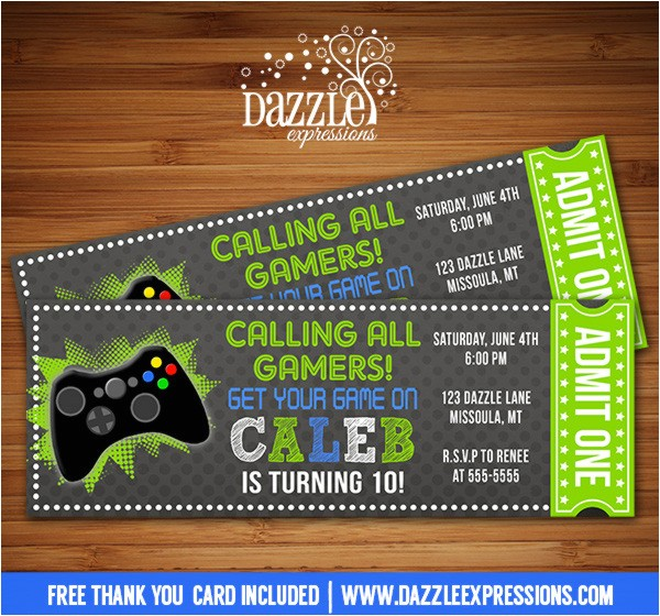 video game chalkboard ticket invitation free thank you card included