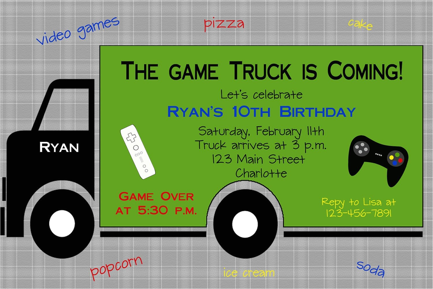 video game birthday party invitation