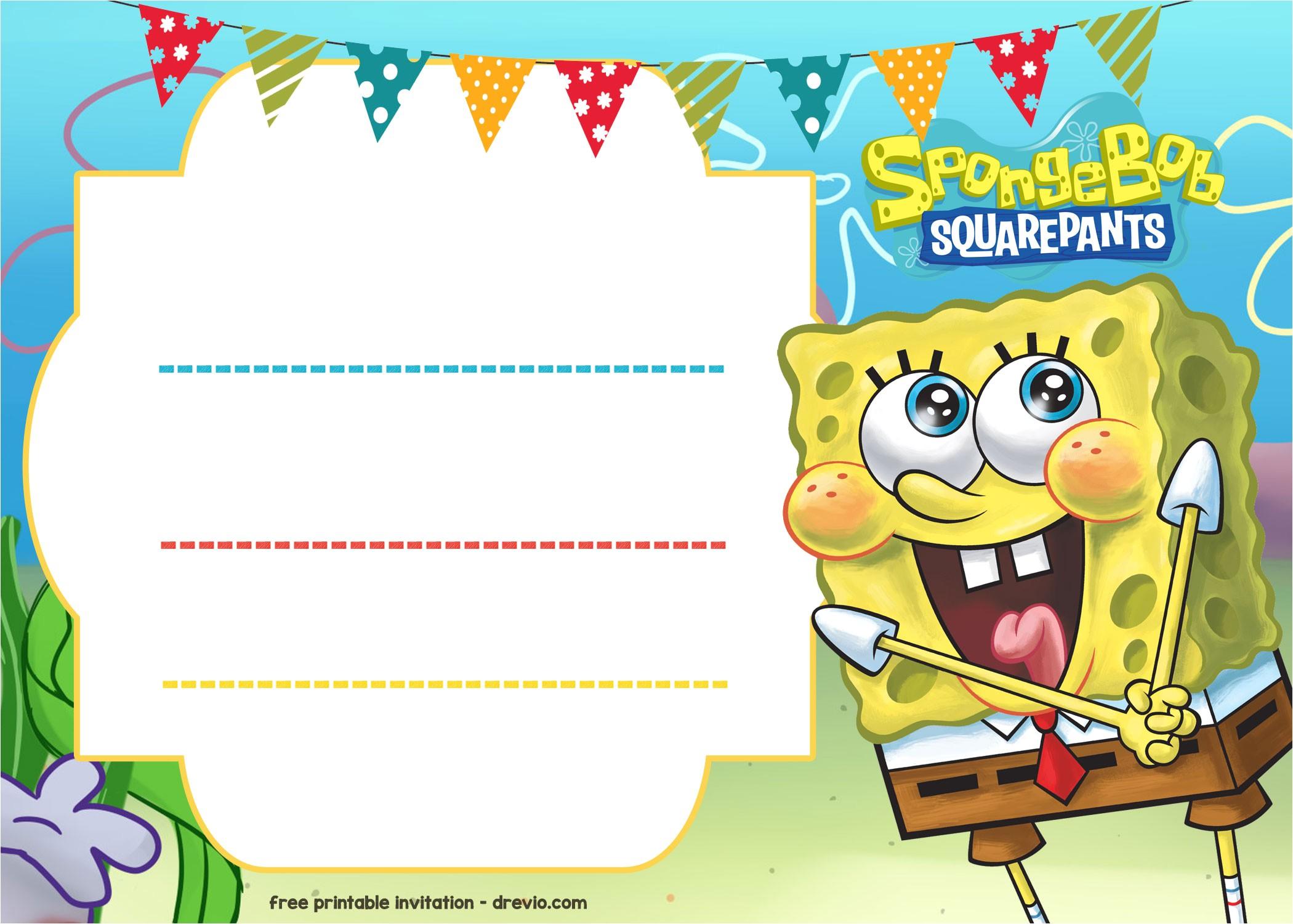 free spongebob birthday invitation template