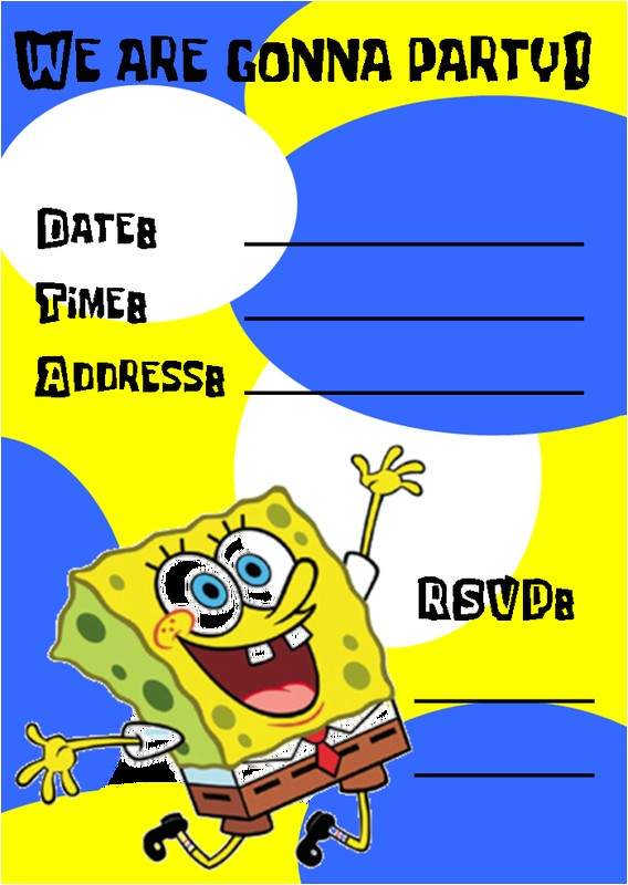 spongebob birthday invitations template