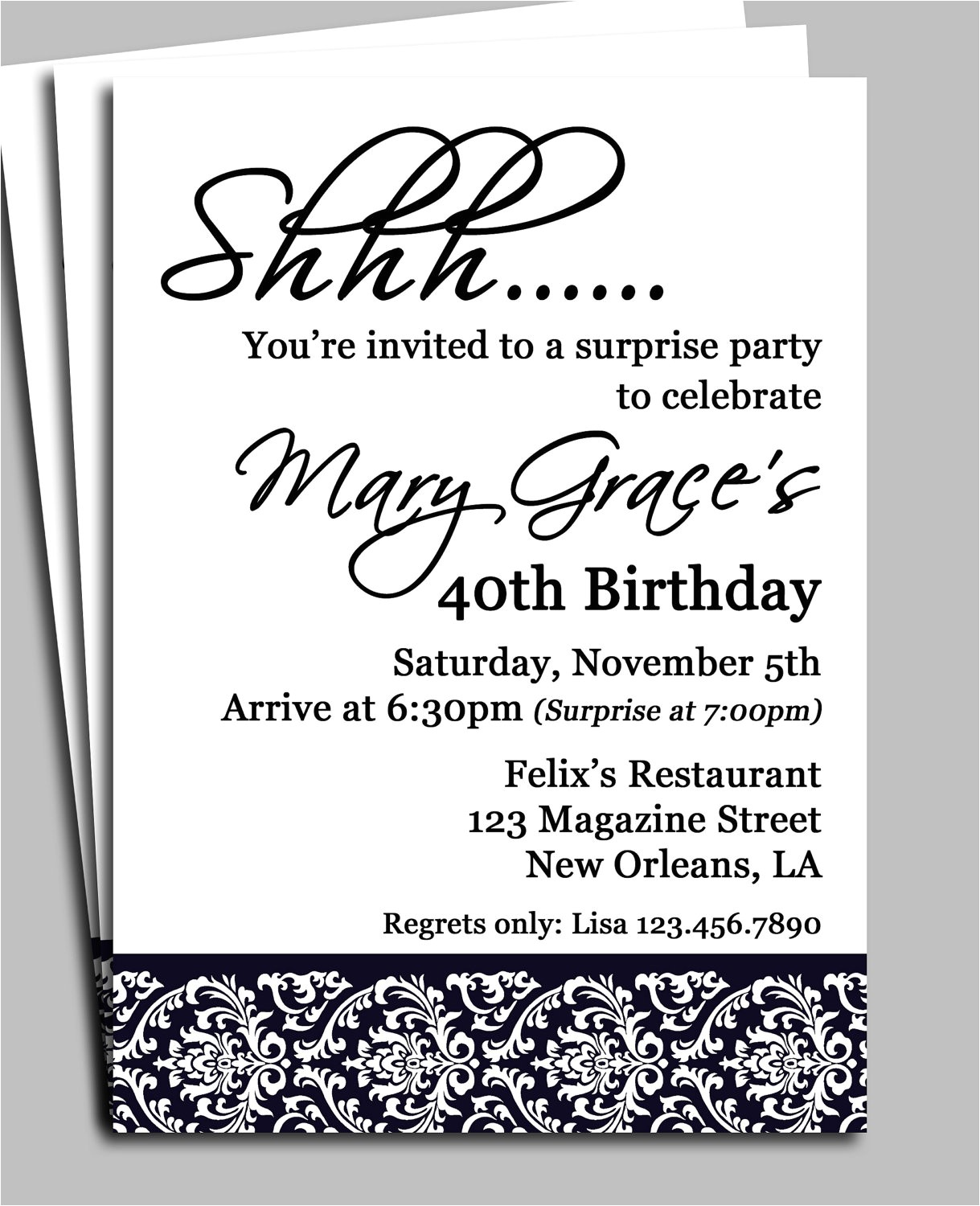 black damask surprise party invitation