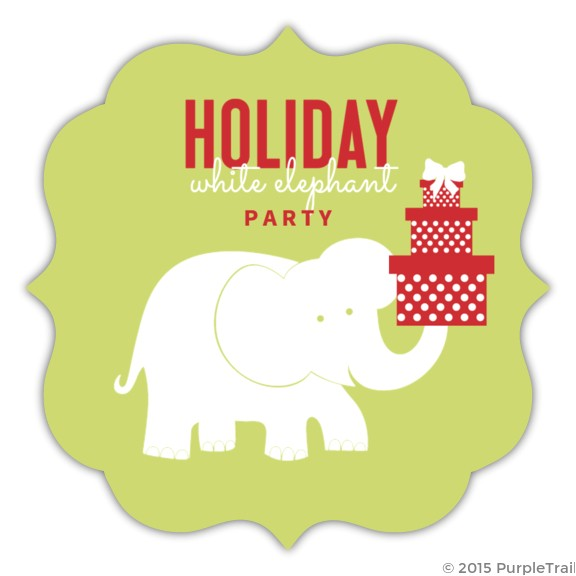 green circle white elephant party invitation