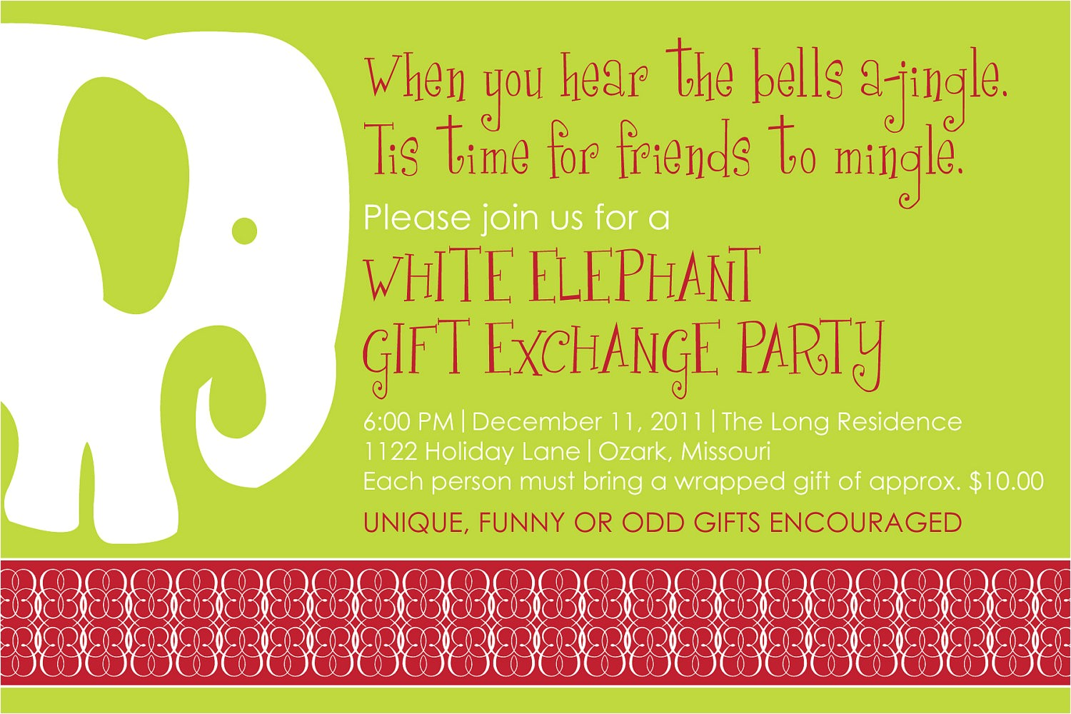 white elephant christmas party invitations