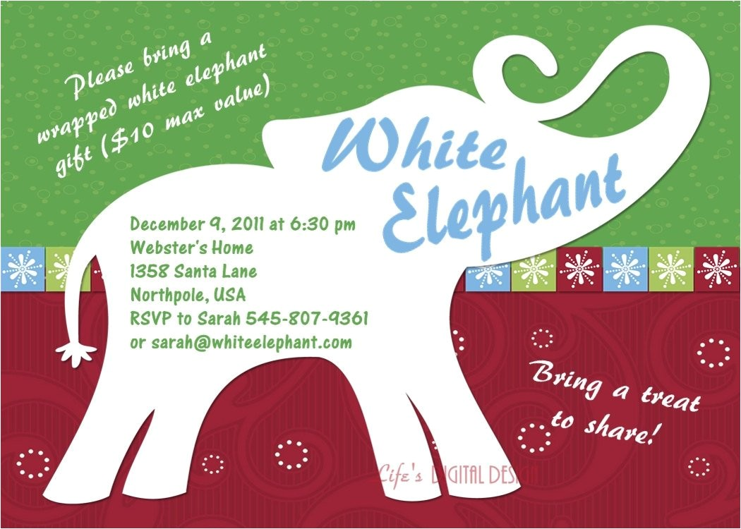 white elephant party invitation