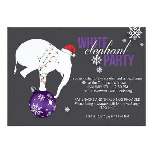 white elephant party invitation purple gray 256461468711862015