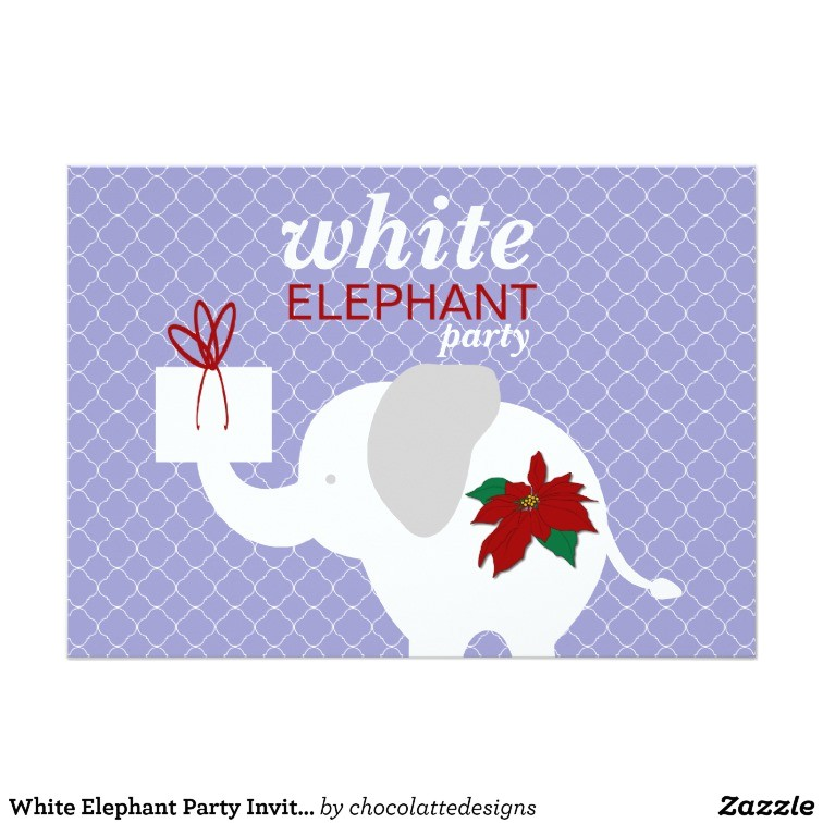 white elephant party invitation 161507289165071766