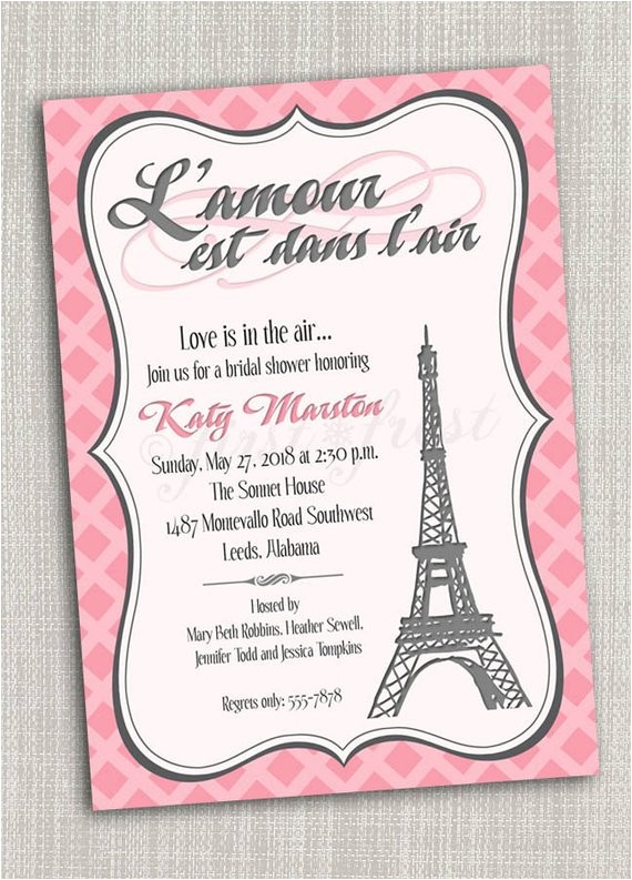 French Party Invitation Templates French themed Eiffel tower Paris Party Invitation Card