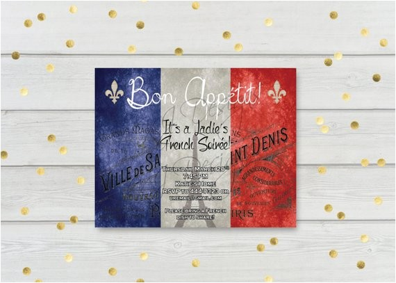 french theme invitation 5x7 french