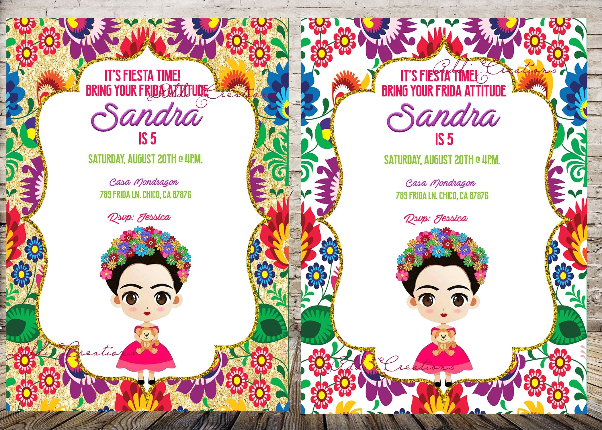 frida kahlo invitation invitaciones