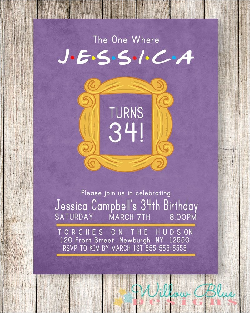 friends theme birthday invitation