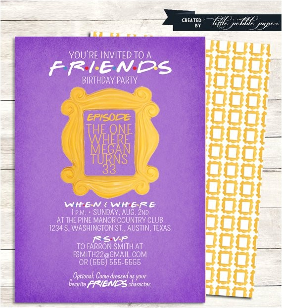 friends tv show shower invitation bridal