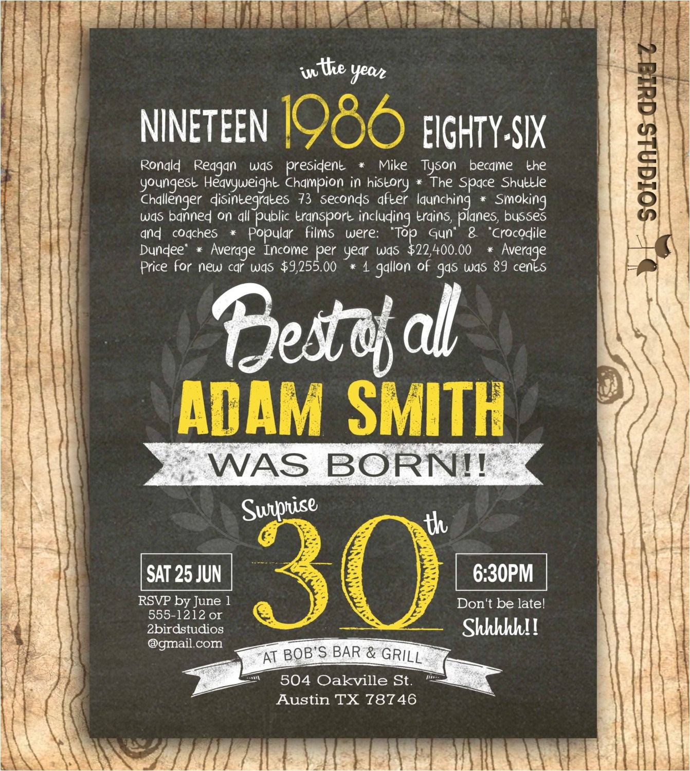 30th birthday invitations for him