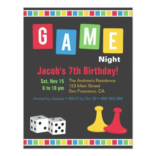 board game night kids birthday party invitations 256274826126250661