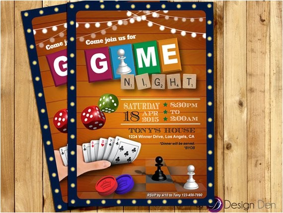 game night invitation game party invite