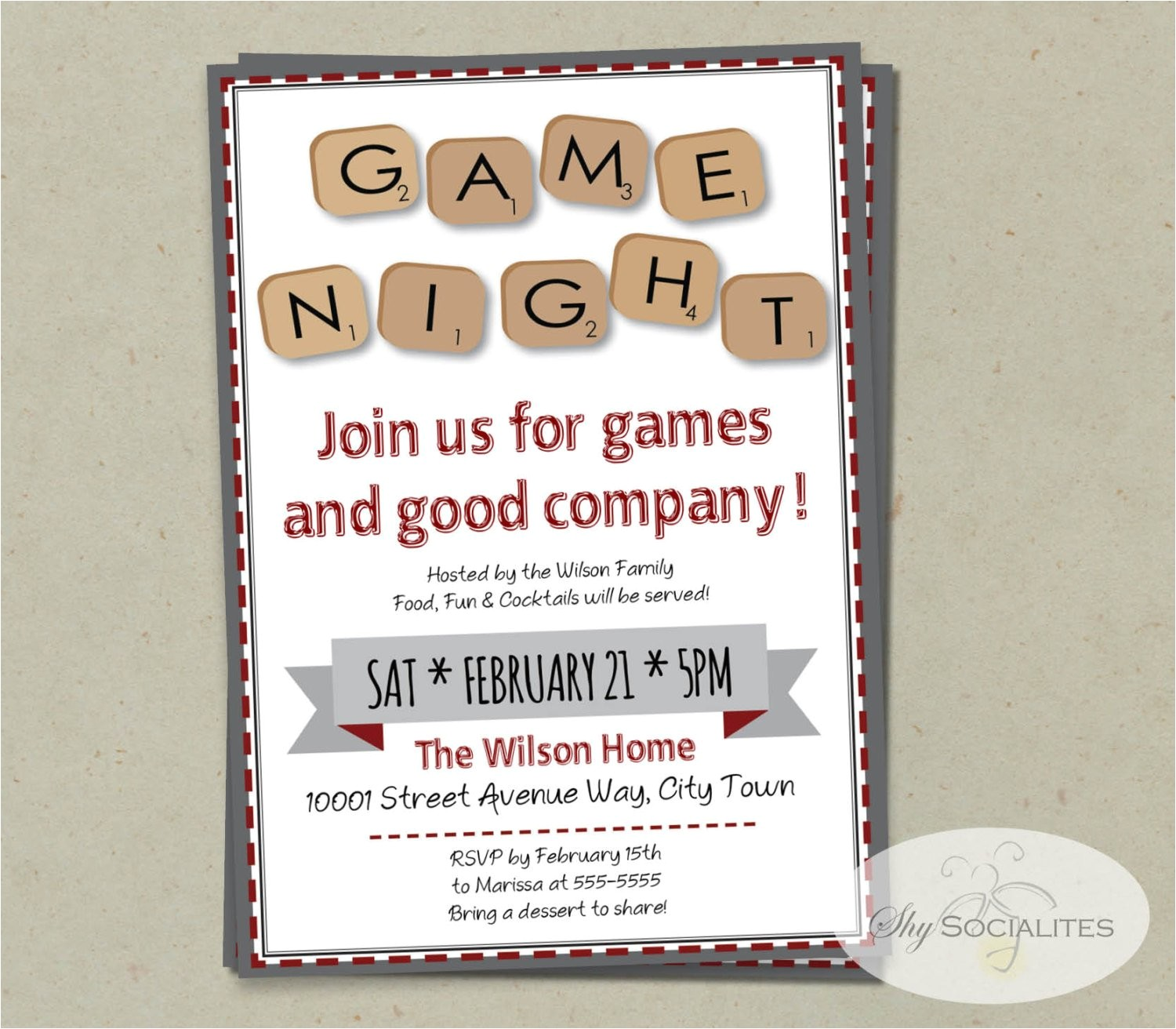 word scramble game night invitation