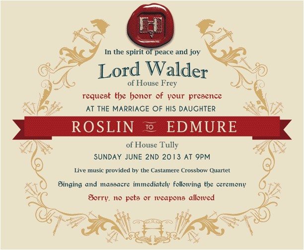 game of thrones red wedding invitation