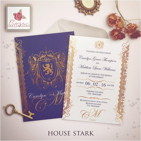 house stark wedding invitation game thrones