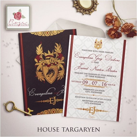 house targaryen wedding invitation game thrones