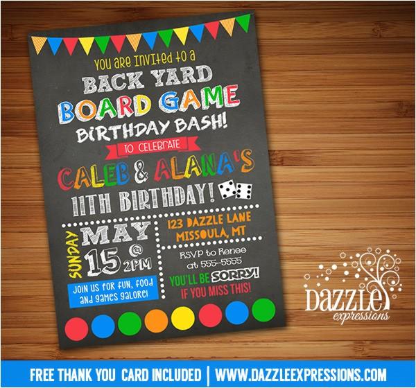 backyard games birthday invitation free thank you card