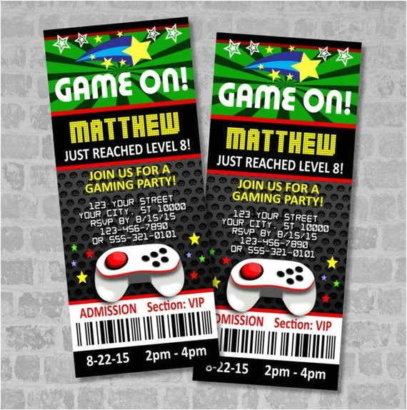 video games party ticket invitations