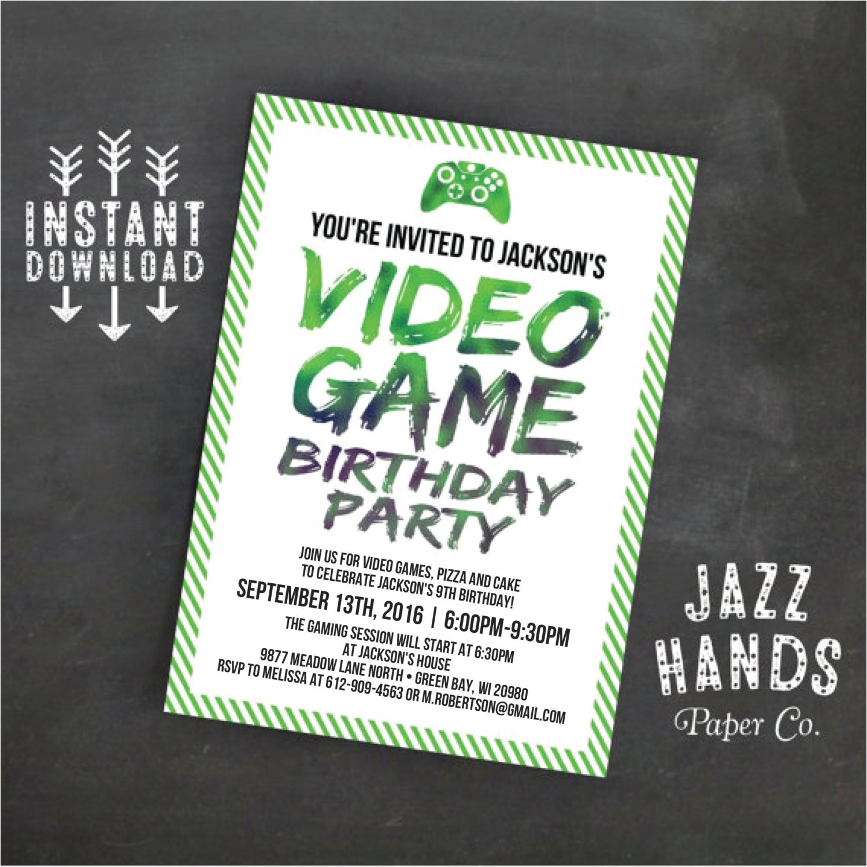 printable video game birthday invitation