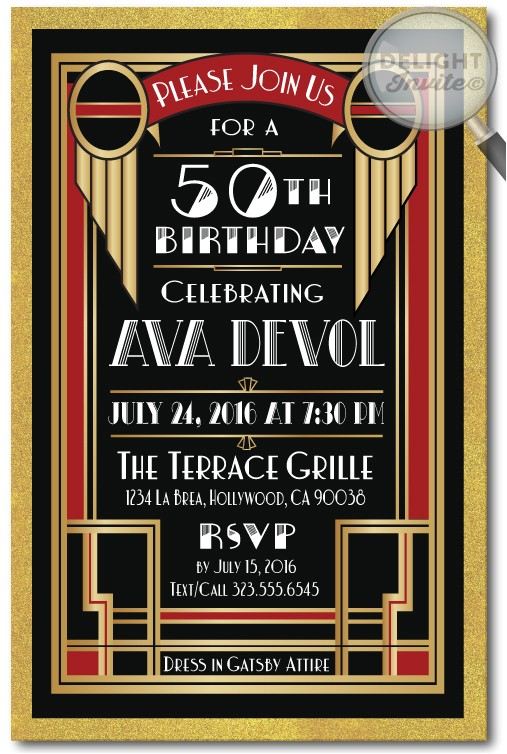 deco roaring 20s great gatsby 50th birthday invitations p 4298
