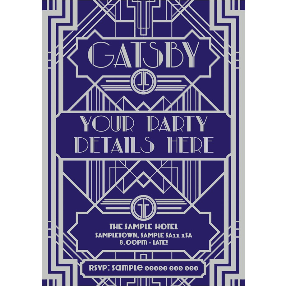 personalised great gatsby style party invites