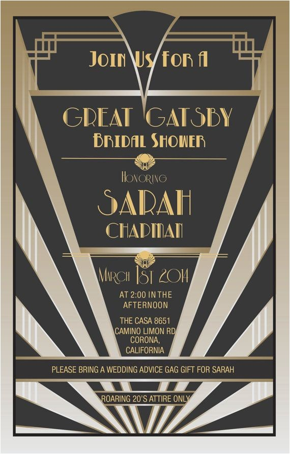 gatsby themed party invitations