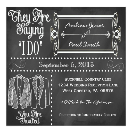 chalkboard tuxedo gay wedding invitations 161294430011615358