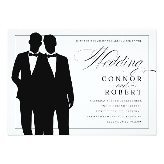 gay wedding invitation two grooms silhouettes 161977941243670637