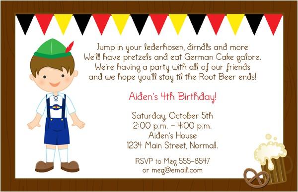 boy lederhosen birthday party invitations