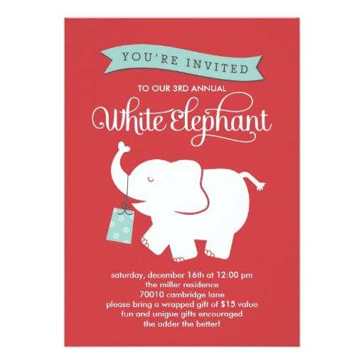 white elephant gift exchange holiday party invitation card