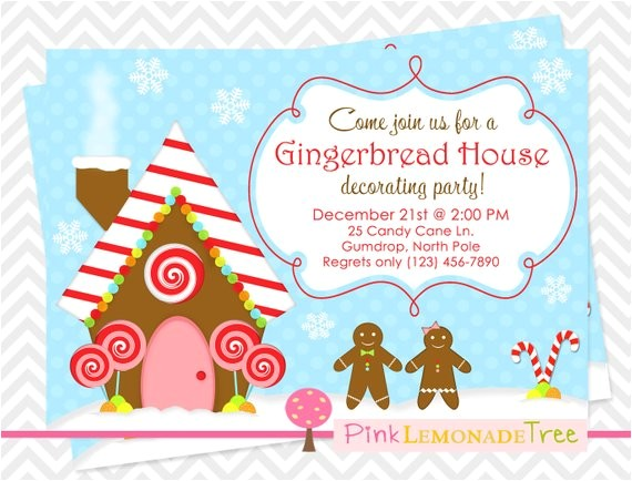 gingerbread house christmas party invitation gingerbread
