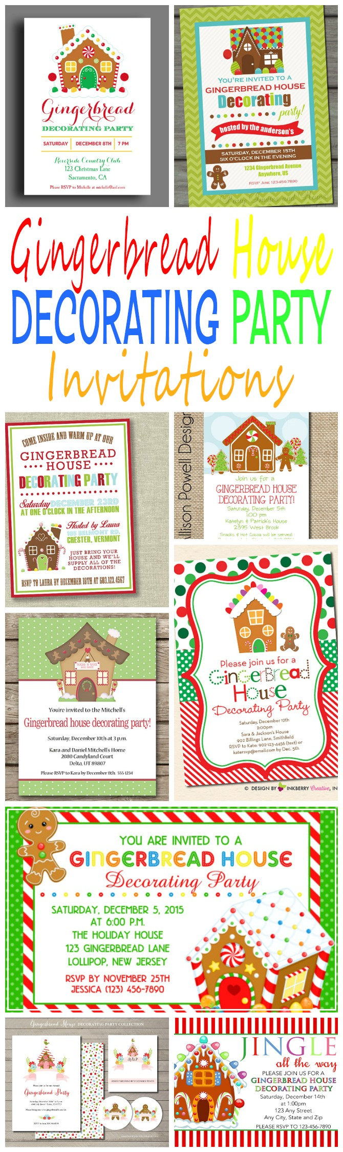 gingerbread house decorating party invitations