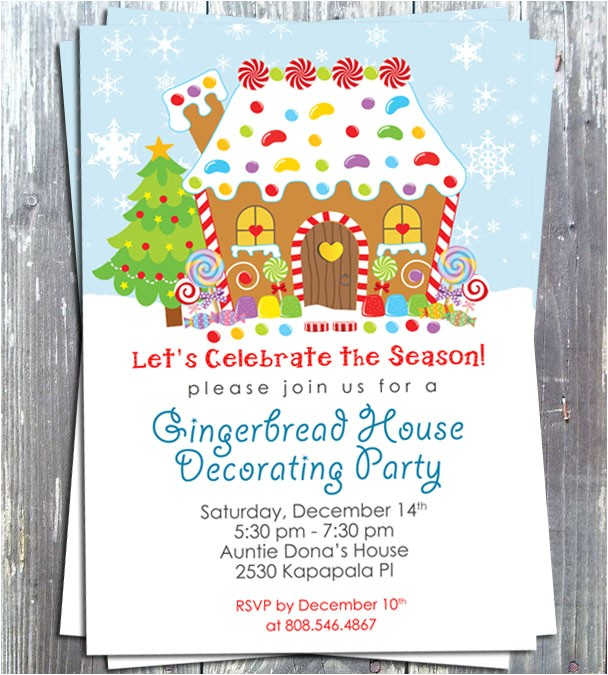 gingerbread house decoration party invitation e file