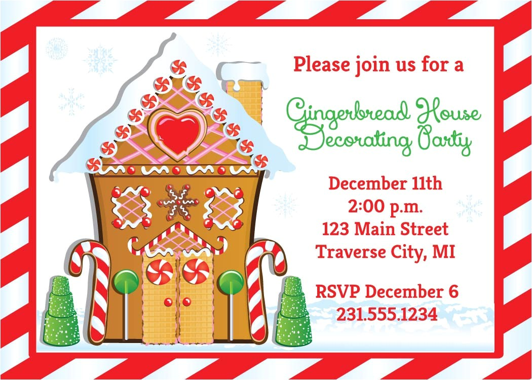 gingerbread house invitation christmas decorating party