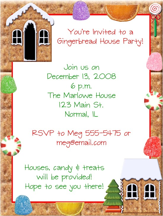 gingerbread house making christmas party invitations
