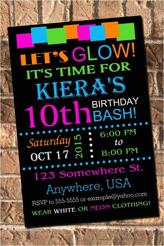 glow neon birthday party invitation with