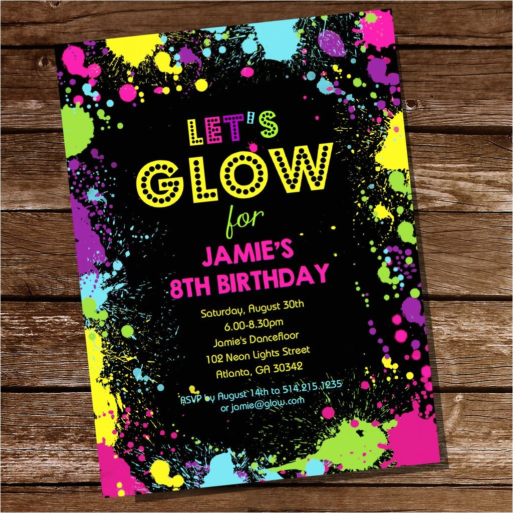 lets glow neon party invitation tween party invitation