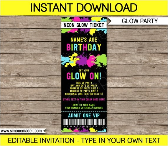 glow party ticket invitations neon birthday