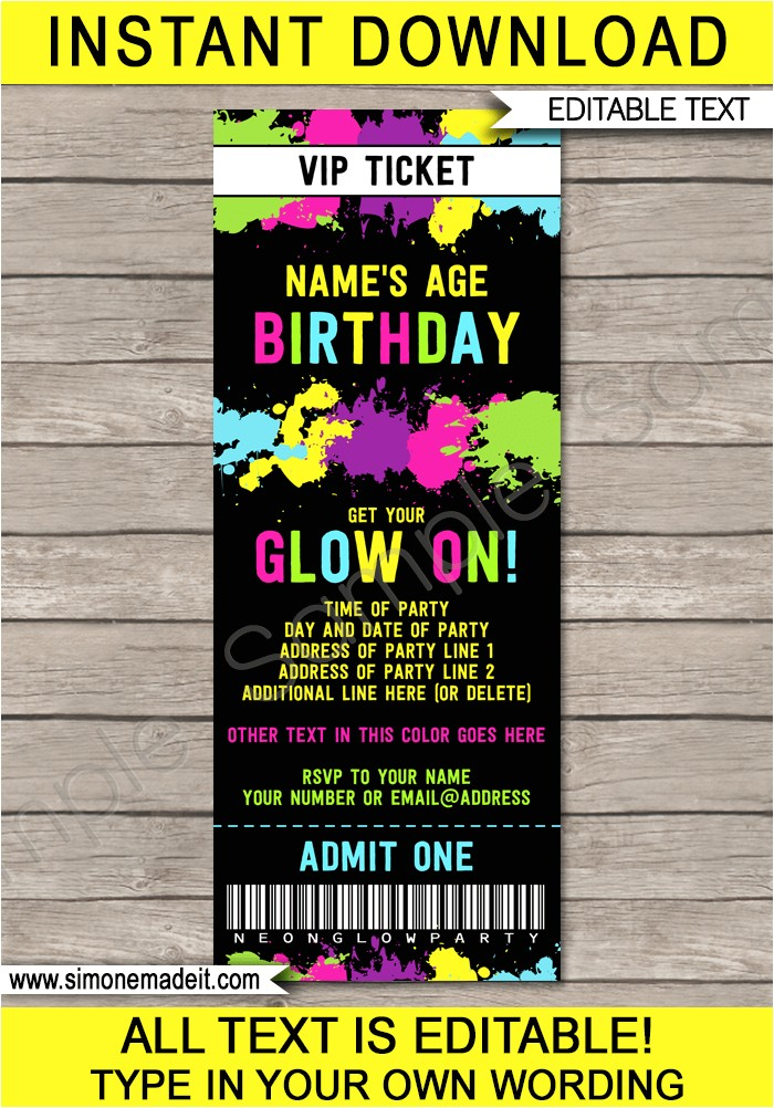 neon glow party ticket invitation
