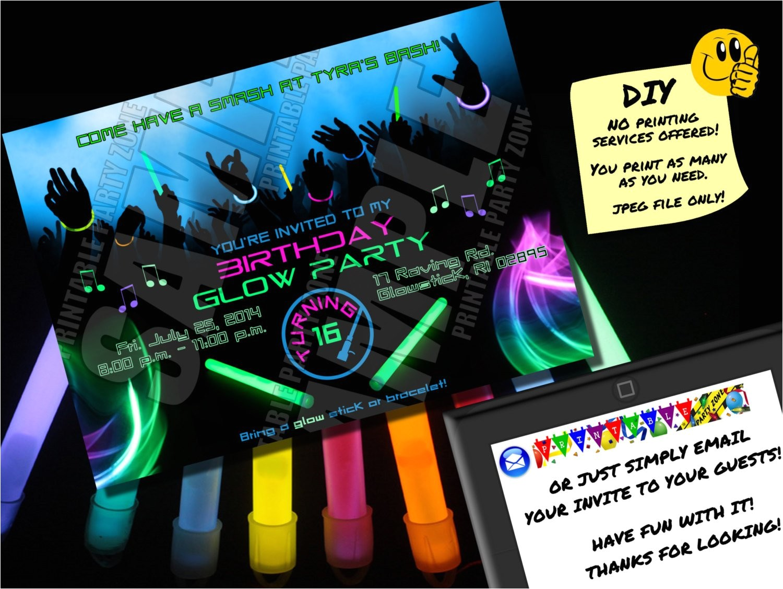 birthday glow party invitation printable