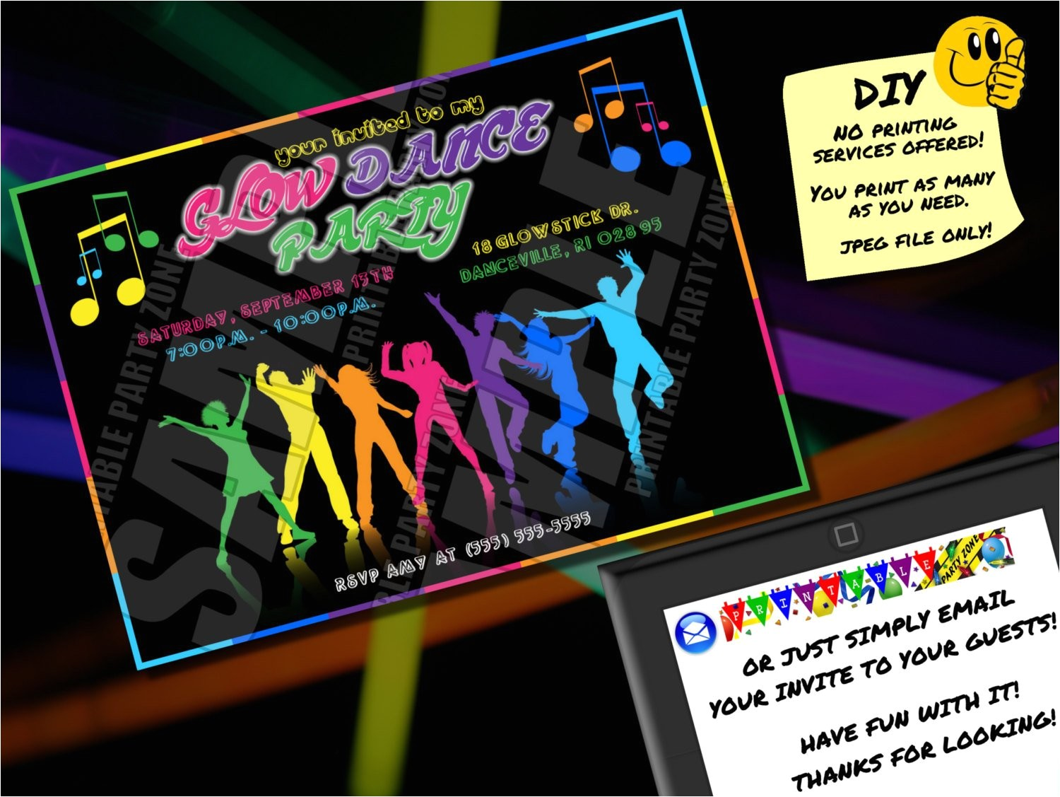 glow stick party invitations
