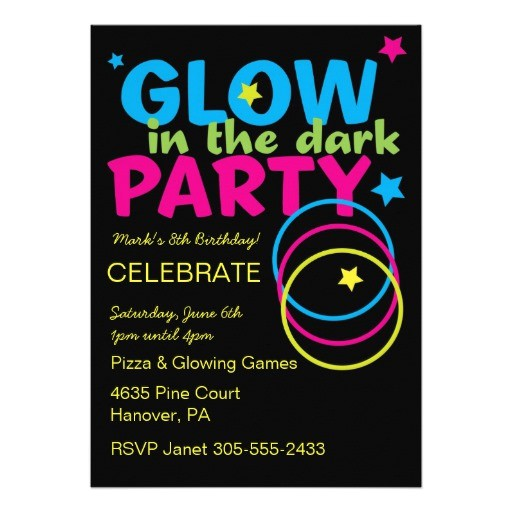 glow in dark birthday party invitations 161201929663690992